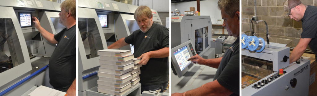 At BR Printers, operators demonstrate the efficiency and versatility of the Standard Horizon finishing systems, including the BQ-470 Perfect Binder in-line with an HT-1000V zero make-ready three-knife trimmer (L) and SPF-20 Bookletmaker (R).
