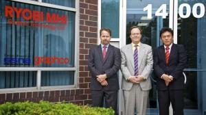 L to R (first photo): Derek Gordon, Graphco Midwest Regional Manager; Chris Manley, Graphco President; Kozak Takata, RYOBI MHI Group Leader International Sales