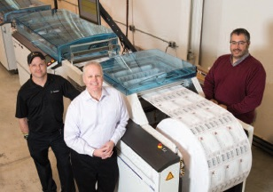 (L to R) Kenny Reed, Digital Bindery Operator; Tom Boyle, Vice President of Sales and Marketing; and Kirk Schlecker, Vice President of Operations.
